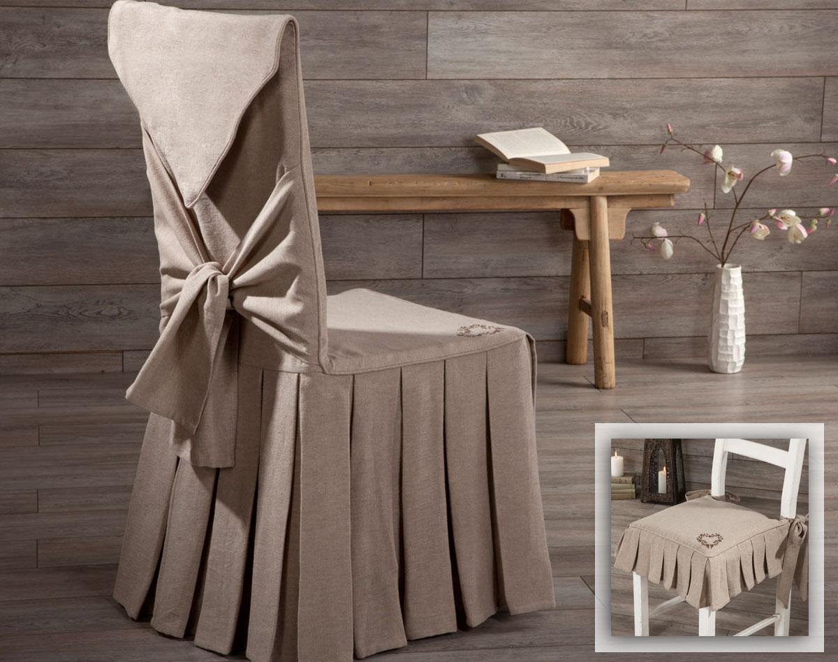 Housse de chaise avec plis brodées à noeud